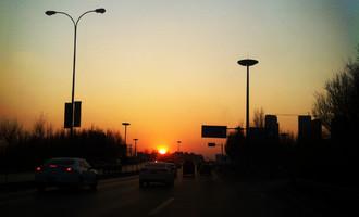 路上的风景,夕阳西下